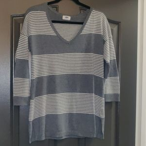 Grey and white striped sweater